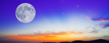 Purple And Orange Sunset With Moon