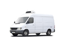 White Refrigerated Van Isolated On White