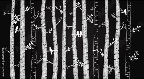 Vector Chalkboard Birch or Aspen Trees with Autumn Leaves and Lo - 70398473