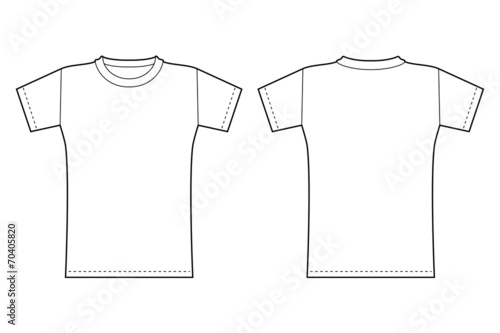 T Shirt Template Front And Back View In Black Contour Acheter Ce