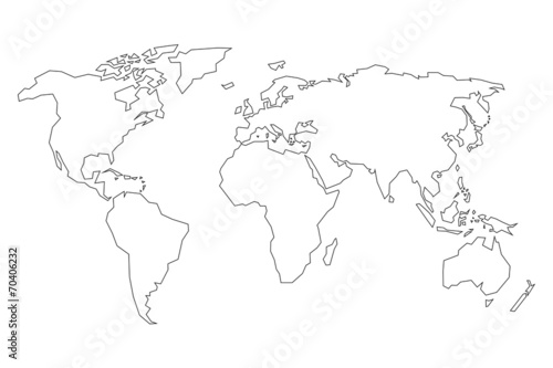World Map. Detailed Contours. Line Style