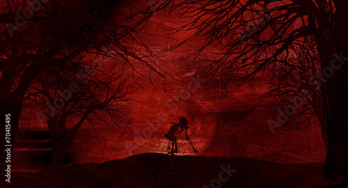 Photo Stands Magenta Grunge Halloween background with spooky trees