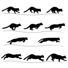 Set Of Running Black Cat Silho...