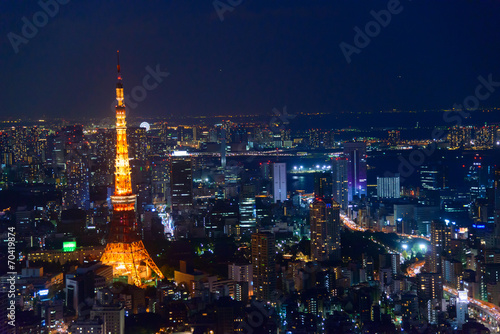 Spoed Foto op Canvas Tokyo Tokyo in the twilight, direction to the Tokyo Tower and Shinagaw