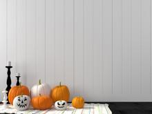 Funny Pumpkin Against A White ...