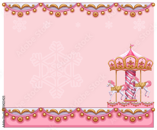A stationery template with a merry-go-round ride Tablou Canvas
