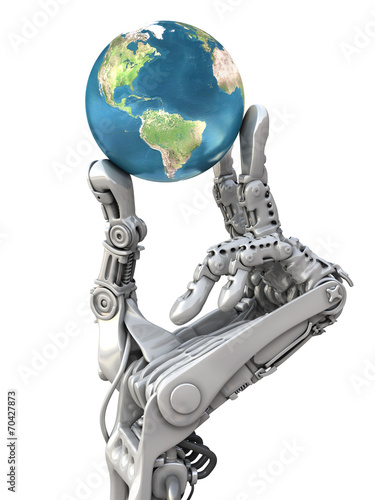 Photo  Robot keep the Earth. Planet in hands at high technology.