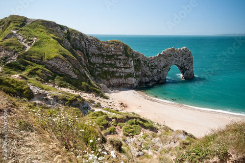 Photo  Durdle Door. South West Coastal Path, Dorset, UK.