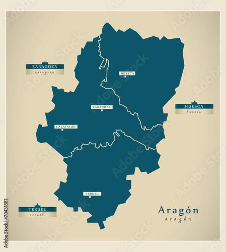 Fotomural Modern map - Aragón ES