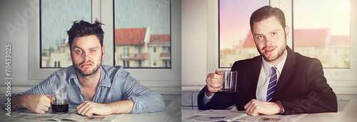 Fotografie, Obraz  before and after coffee