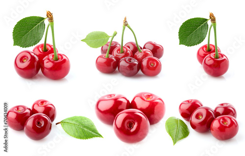 Collage cherry close-up.