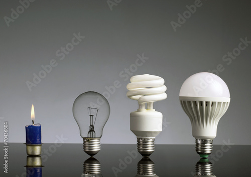 Photo  Candle, tungsten bulb,fluorescent bulb and LED bulb
