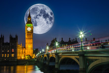 Big Ben And The Houses Of Parliament With Full Moon