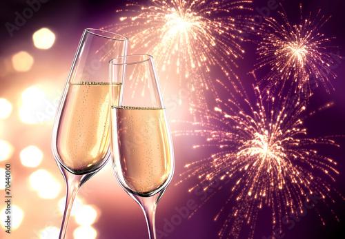 Champagnergläser Violett mit Feuerwerk Poster