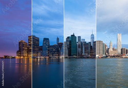 Montage of Manhattan skyline night to day - New york - USA