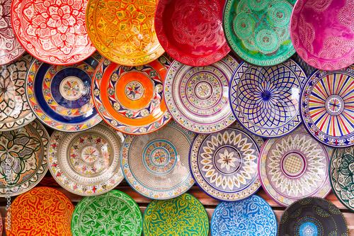 Poster Maroc Traditional arabic colorful clay plates.