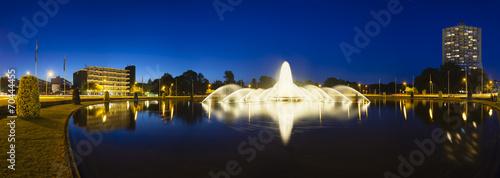 Photo Aachen Europaplatz Fountain At Night