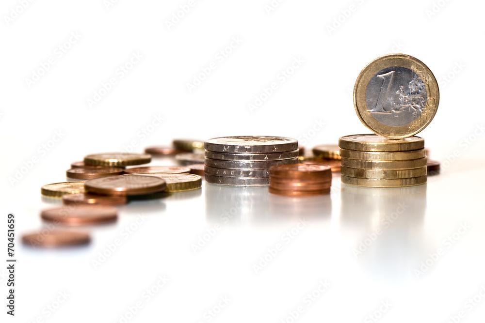 Photo & Art Print Münzen Gestapelt - Ein Euro/ Cent / Eurocent ...