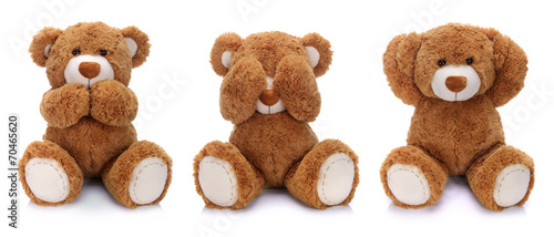Three teddy bears on white background #70465620