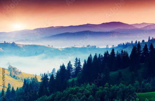 Aluminium Prints Blue sky mountain