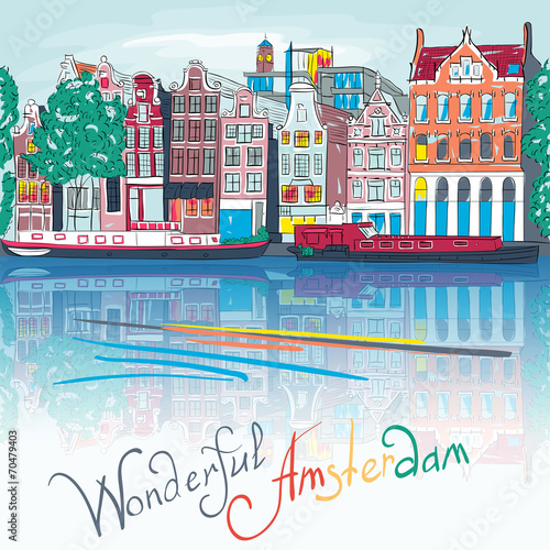 Vector Amsterdam canal and typical houses Wallpaper Mural
