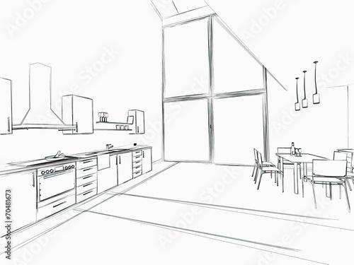 Fotografie, Obraz  Skizze Küche groß