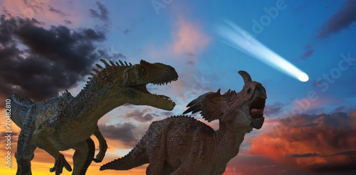 Fotografie, Obraz  Allosaurus and Styracosaurus Battle as the Comet Approaches