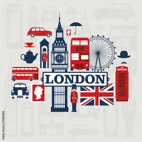 Fototapeta London vector set obraz