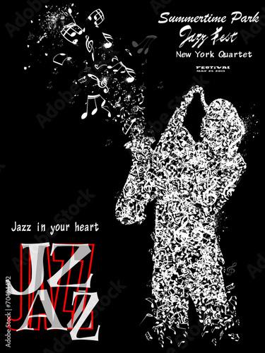 Fototapeta Plakat jazzowy z saksofonistą