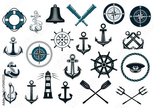 Fotografie, Obraz  Set of nautical icons