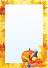 Border With  Cornucopia  And Orange Maple Leaves