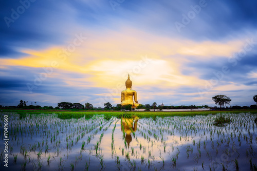 Printed kitchen splashbacks Place of worship Wat Muang with gilden giant big Buddha statue