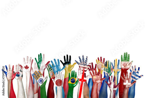 Fotografía  Group of Diverse Flag Painted Hands Raised