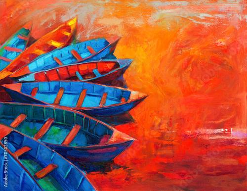Poster de jardin Rouge Boats at sunset