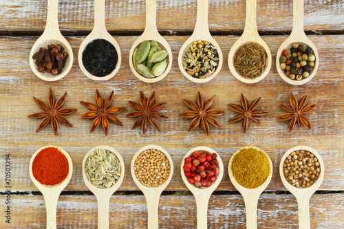 Poster Kruiden Selection of Indian spices on wooden spoons