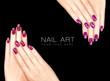 Leinwanddruck Bild - Colorful Nail Art. Crackle Nail Lacquer. Tattoo
