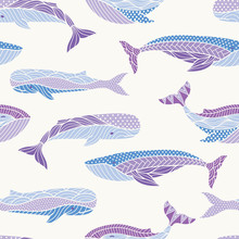 Whales Seamless Pattern
