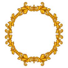 Baroque Ornamental Antique Gold Frame On White Background.