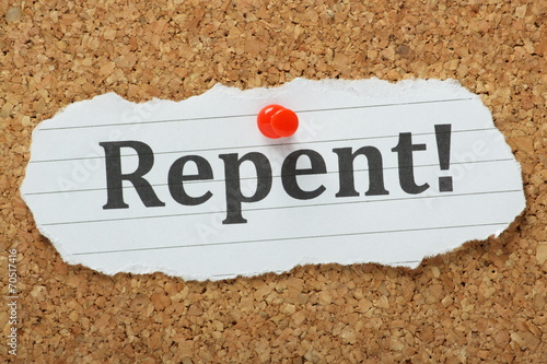 The word Repent on a cork notice board Wallpaper Mural