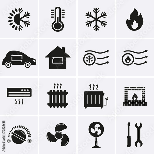 Fotografía  Heating and Cooling Icons