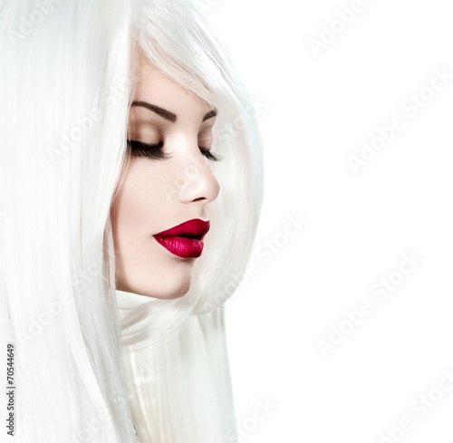 Poster - Portrait of beauty model girl with white hair and red lipstick