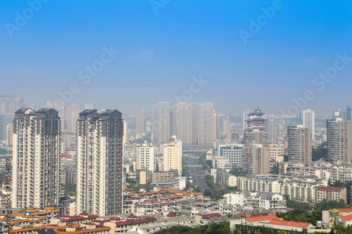 Photo Stands Beijing mianyang,china, city panorama with blue sky