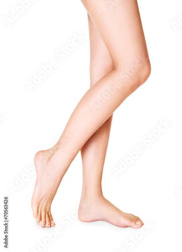 Obraz Beautiful woman legs isolated on white. - fototapety do salonu