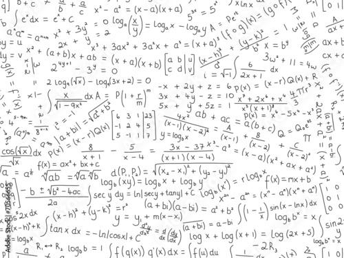 Fotografie, Obraz  MATHEMATICAL EQUATIONS seamless pattern (math maths formulae)