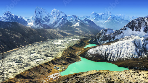 Montage in der Fensternische Nepal Beautiful view from Gokyo Ri, Everest region, Nepal