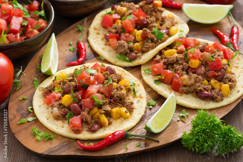 Mexican cuisine-tortillas with chili con carne and tomato salsa Plakát