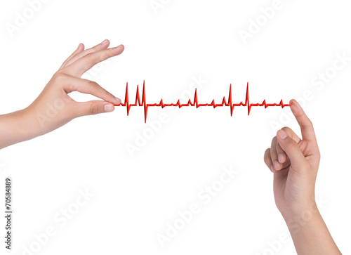 Fototapety, obrazy: hand drawing chart electrocadiogram (ECG) of ratio heartbeat on