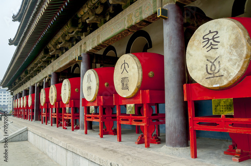 Foto op Aluminium Xian Drums in the Bell Tower in Xian