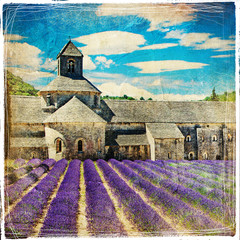 Obraz na Szkle Prowansalski lavander feelds and abbey - picture in retro style