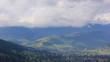 village in mountains under clouds. beautiful landscape